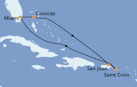 Itinéraire de la croisière Caraïbes de l'Est 8 jours à bord du Empress of the Seas