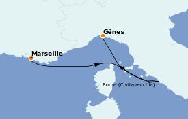 Itinerario de crucero Mediterráneo 4 días a bordo del MSC Preziosa
