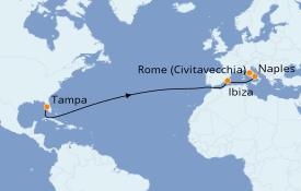 Itinéraire de la croisière Transatlantiques et Grands Voyages 2021 15 jours à bord du Rhapsody of the Seas
