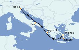 Itinéraire de la croisière Grèce & Adriatique 8 jours à bord du Costa Deliziosa