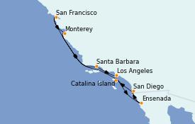 Itinerario de crucero California 10 días a bordo del MS Regatta