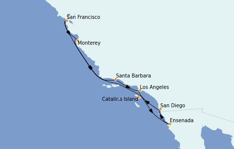 Itinéraire de la croisière Californie 9 jours à bord du Regatta