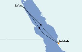 Itinéraire de la croisière Mer Rouge 8 jours à bord du MSC Bellissima