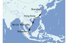 Itinéraire de la croisière Asie 13 jours à bord du Silver Muse