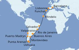 Itinéraire de la croisière Tour du Monde 2020 35 jours à bord du MSC Magnifica