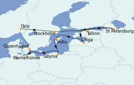 Itinéraire de la croisière Mer Baltique 15 jours à bord du MS Marina