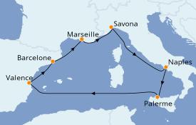 Itinéraire de la croisière Méditerranée 8 jours à bord du Costa Diadema