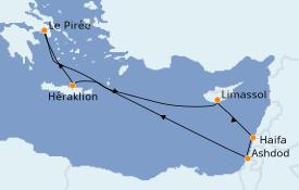 Itinéraire de la croisière Terre Sainte 11 jours à bord du Azamara Pursuit