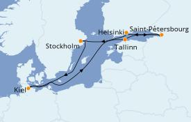 Itinéraire de la croisière Mer Baltique 8 jours à bord du MSC Splendida