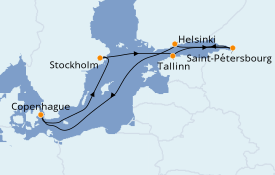 Itinéraire de la croisière Mer Baltique 9 jours à bord du Adventure of the Seas