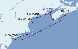 Itinéraire de la croisière Canada 8 jours à bord du Norwegian Pearl