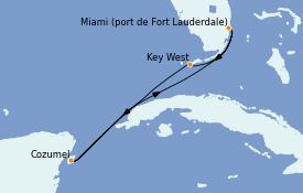 Itinéraire de la croisière Caraïbes de l'Ouest 6 jours à bord du Celebrity Reflection