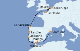 Itinéraire de la croisière Méditerranée 11 jours à bord du Carnival Legend