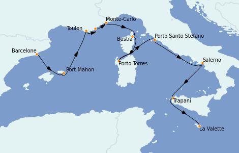 Itinéraire de la croisière Méditerranée 10 jours à bord du Nautica