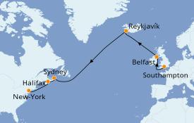Itinéraire de la croisière Transatlantiques et Grands Voyages 2020 15 jours à bord du MSC Meraviglia