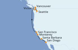 Itinéraire de la croisière Californie 8 jours à bord du ms Maasdam