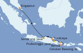 Itinéraire de la croisière Asie 8 jours à bord du Seabourn Ovation