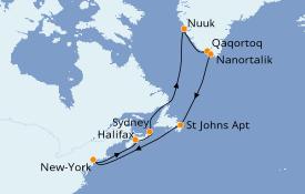Itinéraire de la croisière Canada 17 jours à bord du Caribbean Princess