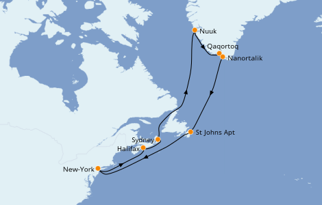 Itinéraire de la croisière Canada 16 jours à bord du Caribbean Princess