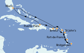 Itinéraire de la croisière Caraïbes de l'Est 12 jours à bord du MS Insignia