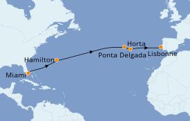 Itinéraire de la croisière Transatlantiques et Grands Voyages 2020 14 jours à bord du Azamara Pursuit