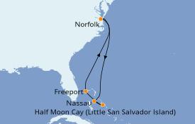 Itinéraire de la croisière Bahamas 7 jours à bord du Carnival Radiance