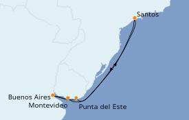 Itinéraire de la croisière Amérique du Sud 8 jours à bord du MSC Poesia