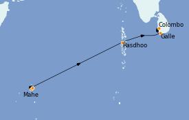 Itinéraire de la croisière Maldives 13 jours à bord du Le Bellot