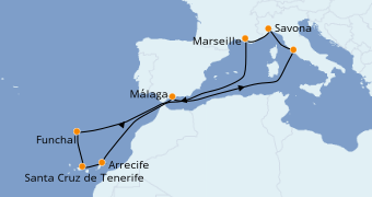 Itinéraire de la croisière Méditerranée 12 jours à bord du Costa Pacifica