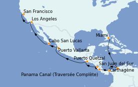 Itinéraire de la croisière Riviera Mexicaine 19 jours à bord du Norwegian Encore