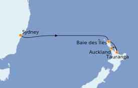 Itinéraire de la croisière Australie 2021 6 jours à bord du Regal Princess