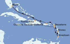 Itinéraire de la croisière Caraïbes de l'Est 11 jours à bord du MS Sirena