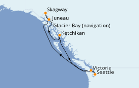 Itinéraire de la croisière Alaska 8 jours à bord du Norwegian Bliss