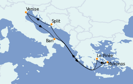 Itinéraire de la croisière Grèce & Adriatique 8 jours à bord du MSC Magnifica