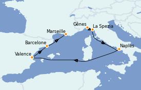 Itinéraire de la croisière Méditerranée 7 jours à bord du Costa Firenze