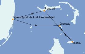 Itinéraire de la croisière Bahamas 5 jours à bord du Liberty of the Seas