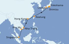 Itinéraire de la croisière Asie 13 jours à bord du Sun Princess