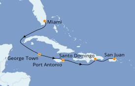 Itinéraire de la croisière Caraïbes de l'Ouest 8 jours à bord du Seven Seas Navigator