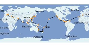 Itinerario de crucero Vuelta al mundo 2023 119 días a bordo del MSC Poesia