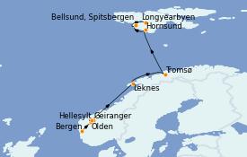 Itinéraire de la croisière Fjords & Norvège 12 jours à bord du Le Boréal