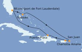 Itinéraire de la croisière Caraïbes de l'Est 8 jours à bord du Celebrity Reflection