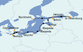 Itinéraire de la croisière Mer Baltique 12 jours à bord du MS Marina