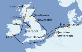 Itinéraire de la croisière Îles Britanniques 15 jours à bord du Costa Favolosa