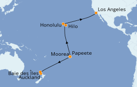 Itinéraire de la croisière Australie 2020 22 jours à bord du Ruby Princess
