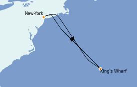 Itinéraire de la croisière Transatlantiques et Grands Voyages 2022 6 jours à bord du Norwegian Getaway