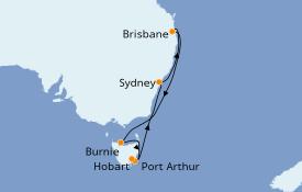 Itinéraire de la croisière Australie 2021 11 jours à bord du Sun Princess