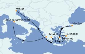 Itinéraire de la croisière Grèce & Adriatique 15 jours à bord du ms Volendam