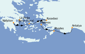 Itinéraire de la croisière Grèce & Adriatique 7 jours à bord du Le Bougainville