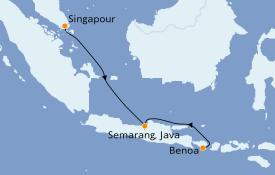 Itinéraire de la croisière Asie 5 jours à bord du Silver Muse
