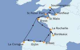 Itinéraire de la croisière Atlanique 13 jours à bord du Seven Seas Explorer
